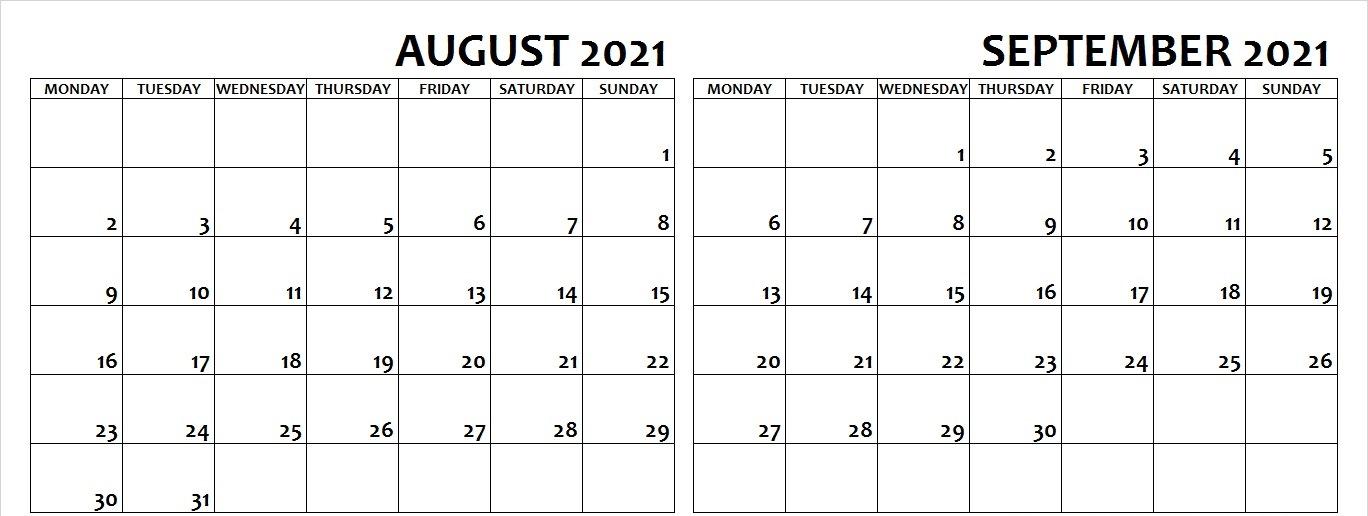 August and September 2021 Calendar Starting Monday
