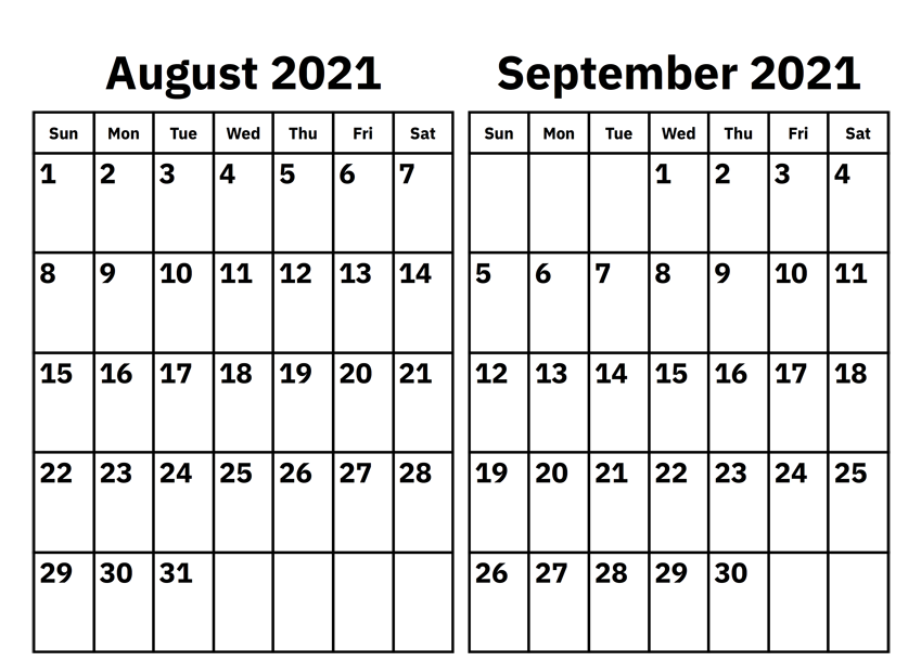 August and September 2021 Calendar Template
