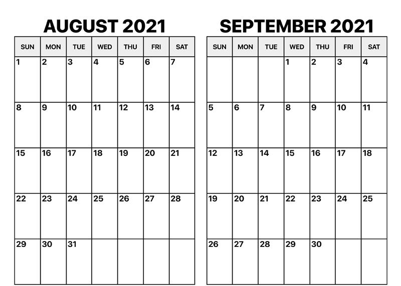August and September 2021 Calendar