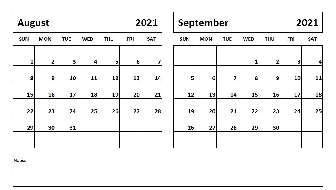 August and September Calendar 2021