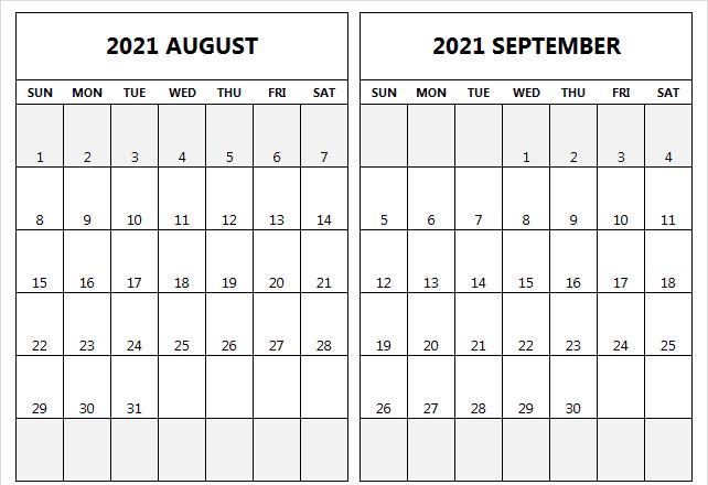 Blank August September 2021 Calendar Printable