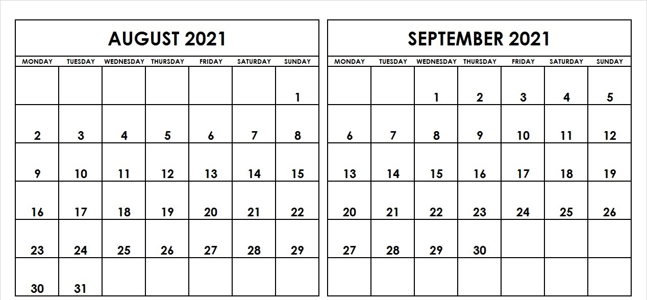 Printable Aug and Sep 2021 Calendar Template