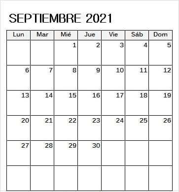 2021 Calendario Septiembre Con Festivos