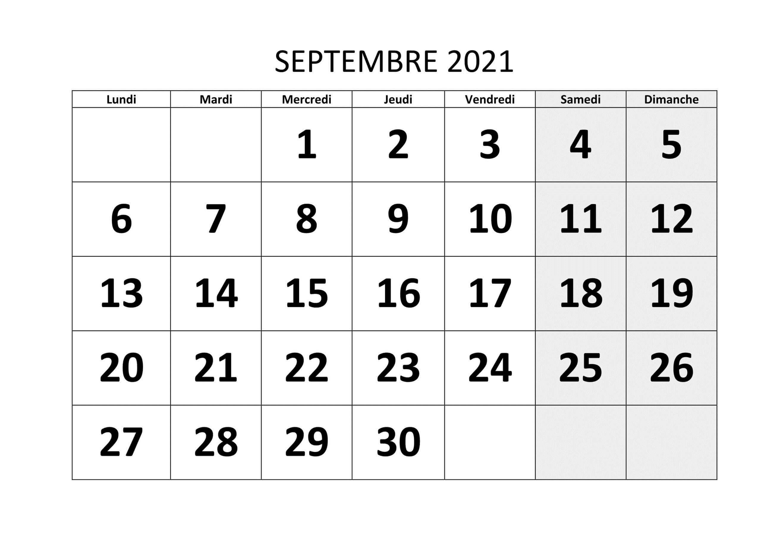 2021 Calendrier Septembre PDF