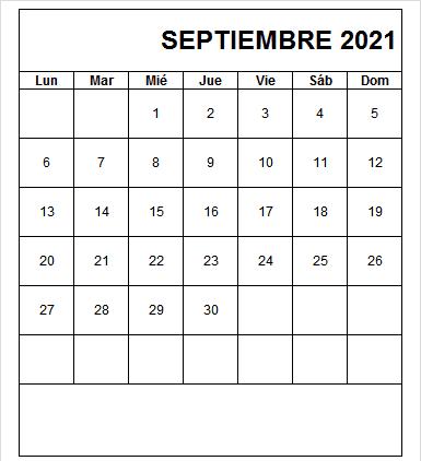 Calendario De Septiembre 2021 Para Imprimir