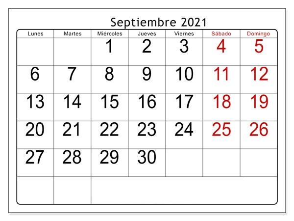 Calendario Septiembre 2021 con Días Feriados