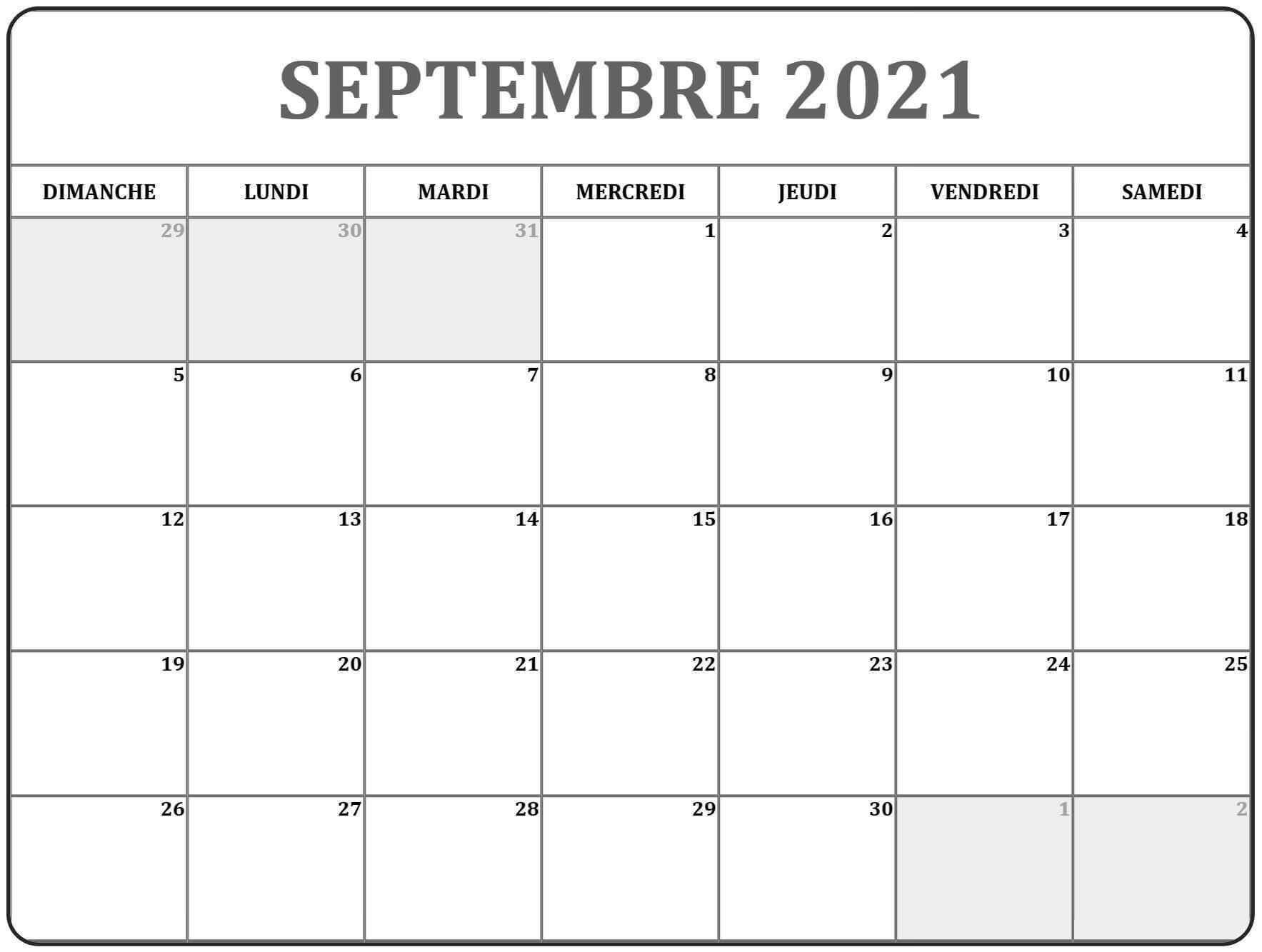 Calendrier Septembre 2021 Avec Jours Fériés
