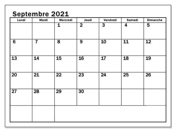 Calendrier Septembre 2021 Excel