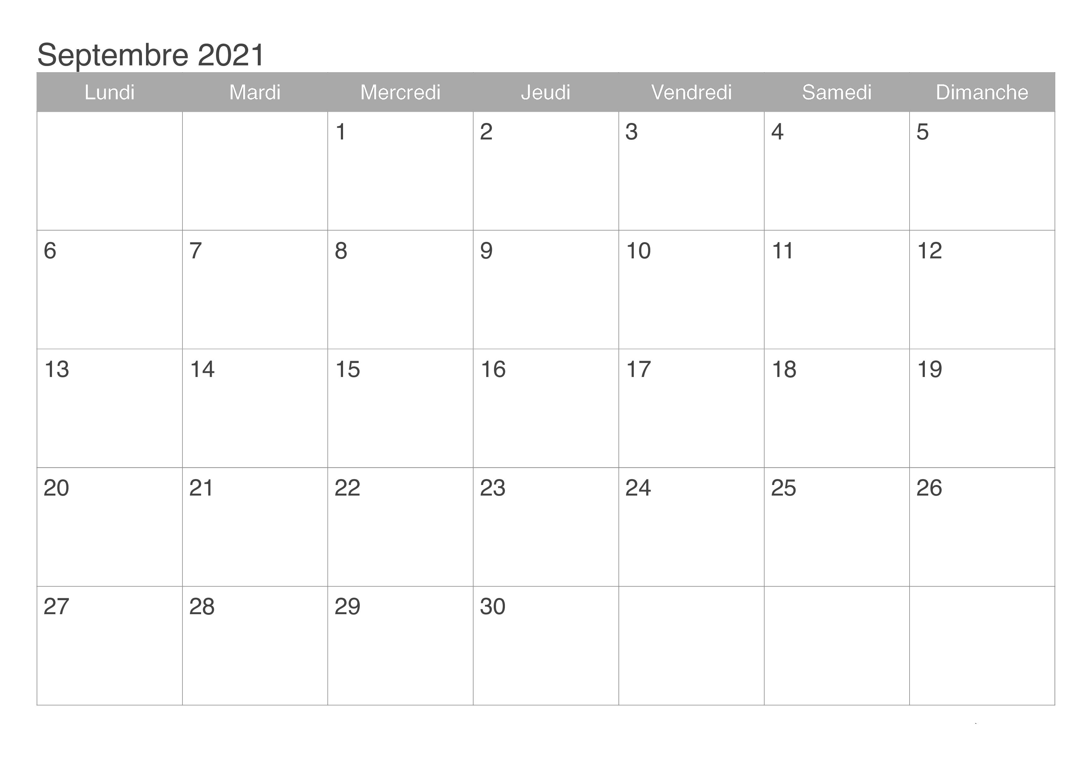 Calendrier Septembre 2021 Jours Feries