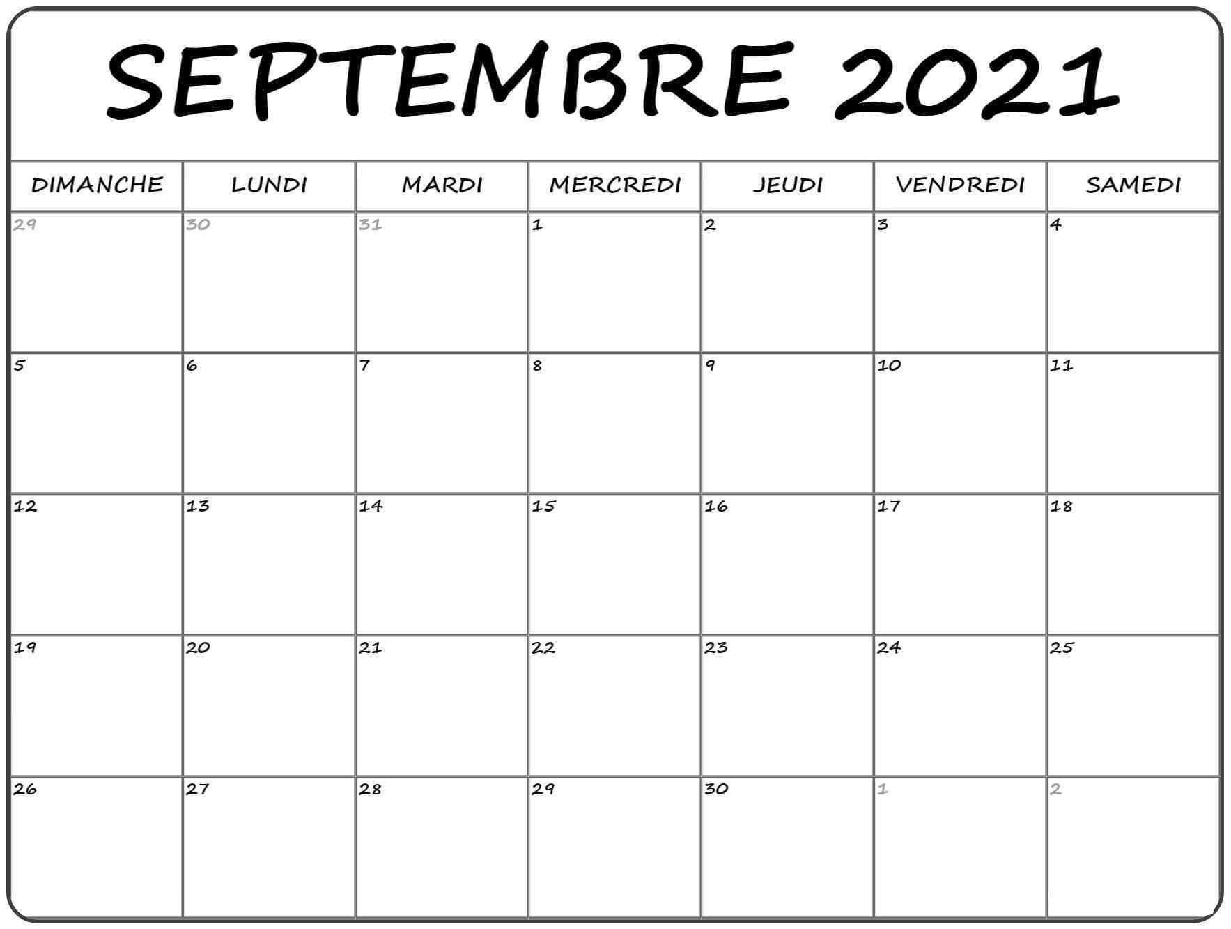 Calendrier Septembre 2021 PDF