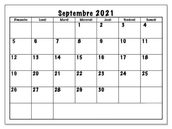 Calendrier Septembre 2021 Word