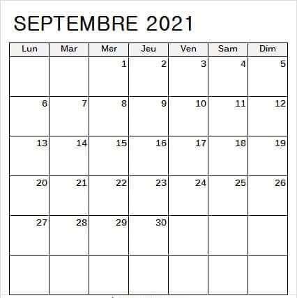 Calendrier Septembre 2021 a Imprimer Par Mois