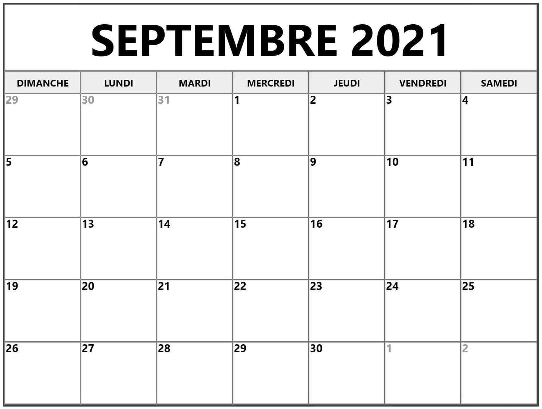 Calendrier Septembre 2021
