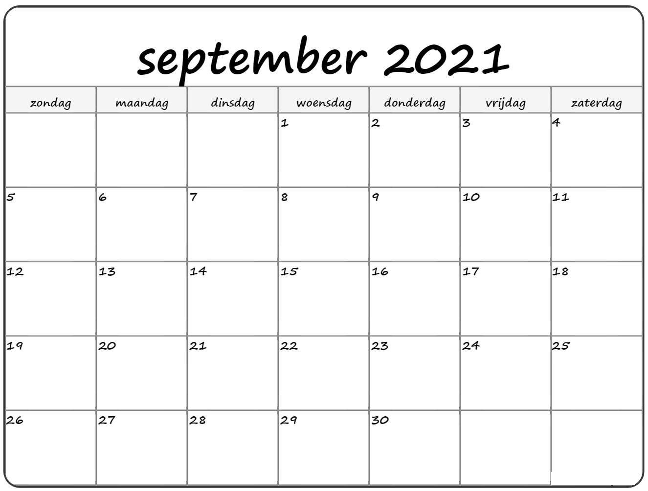 Kalender Feiertage Vorlage fur September 2021