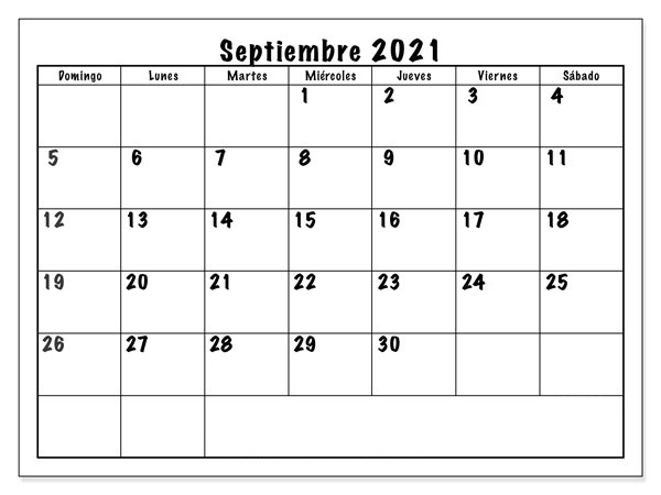 Plantilla de calendario de septiembre de 2021