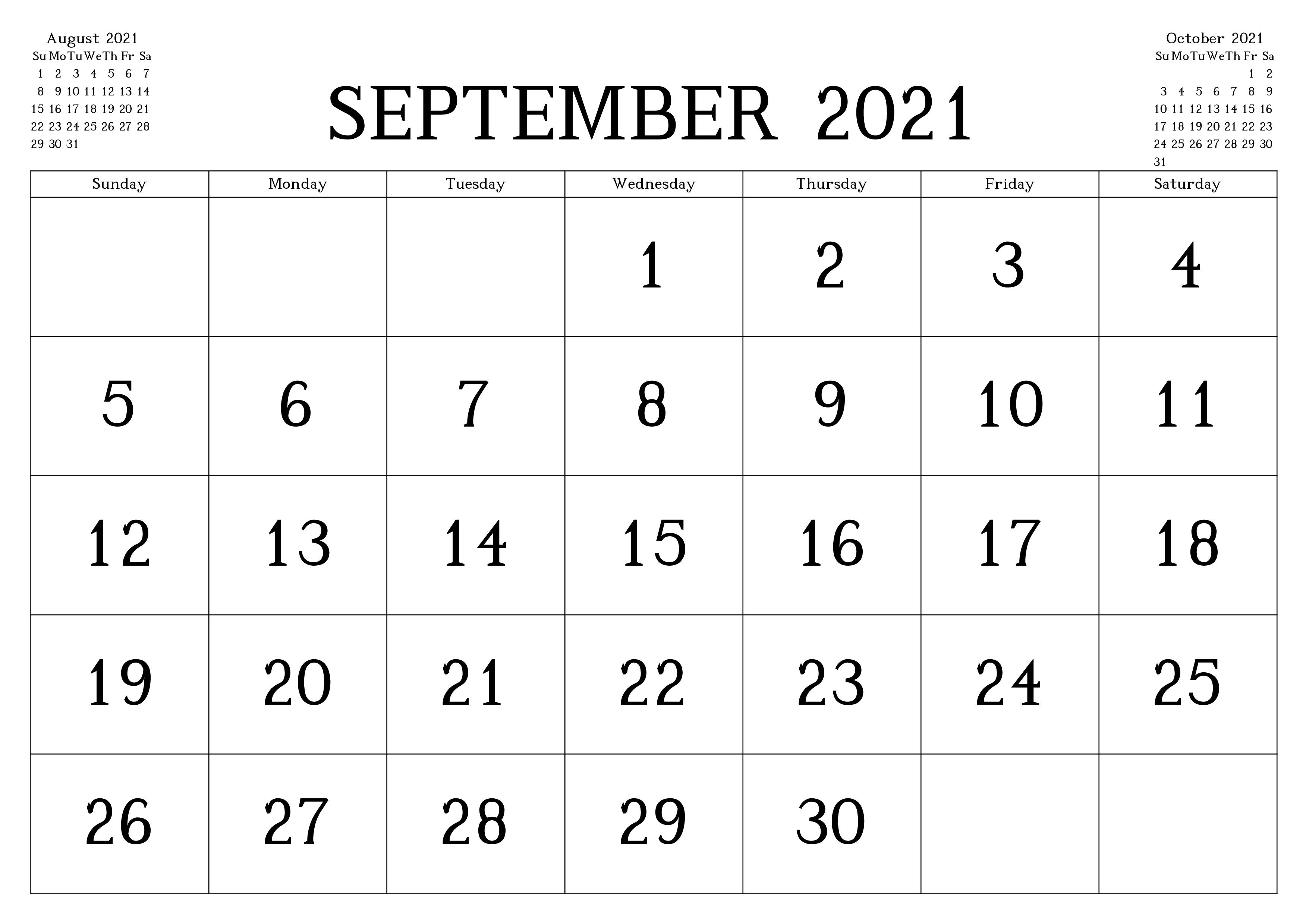 September 2021 Feiertags kalender Vorlage