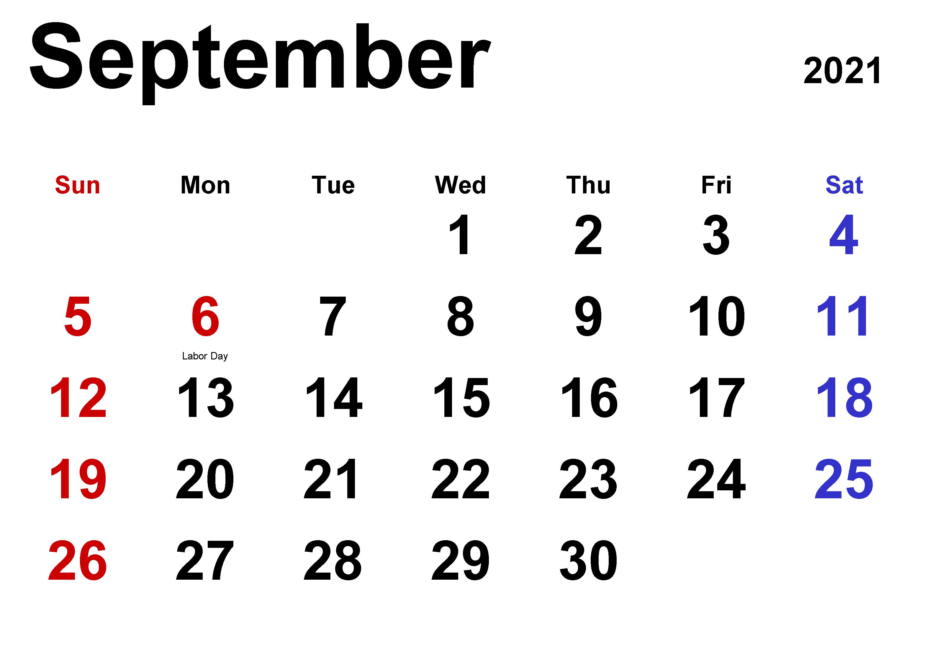 September 2021 druckbare Kalender Feiertage