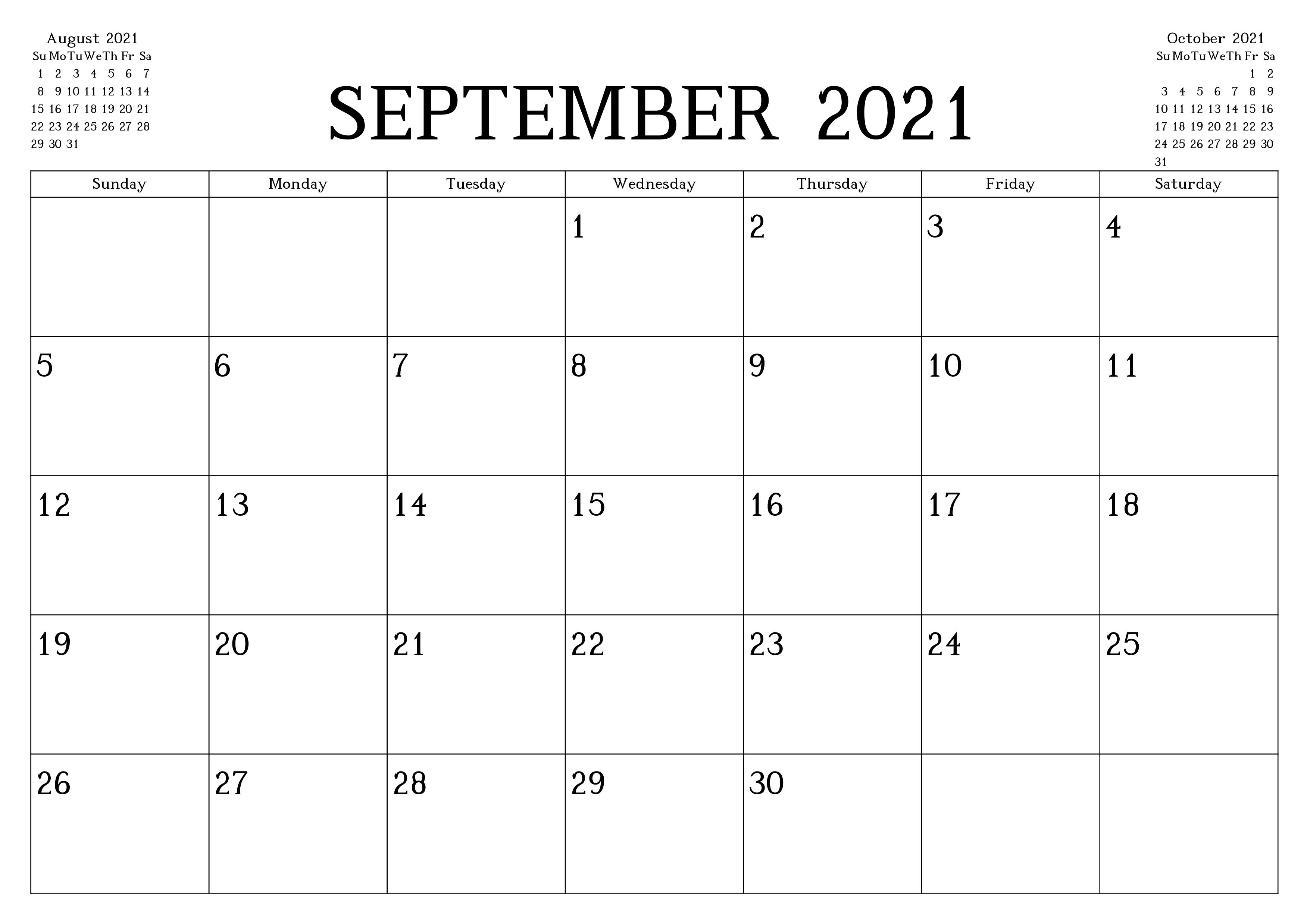September Kalender 2021 Vorlage