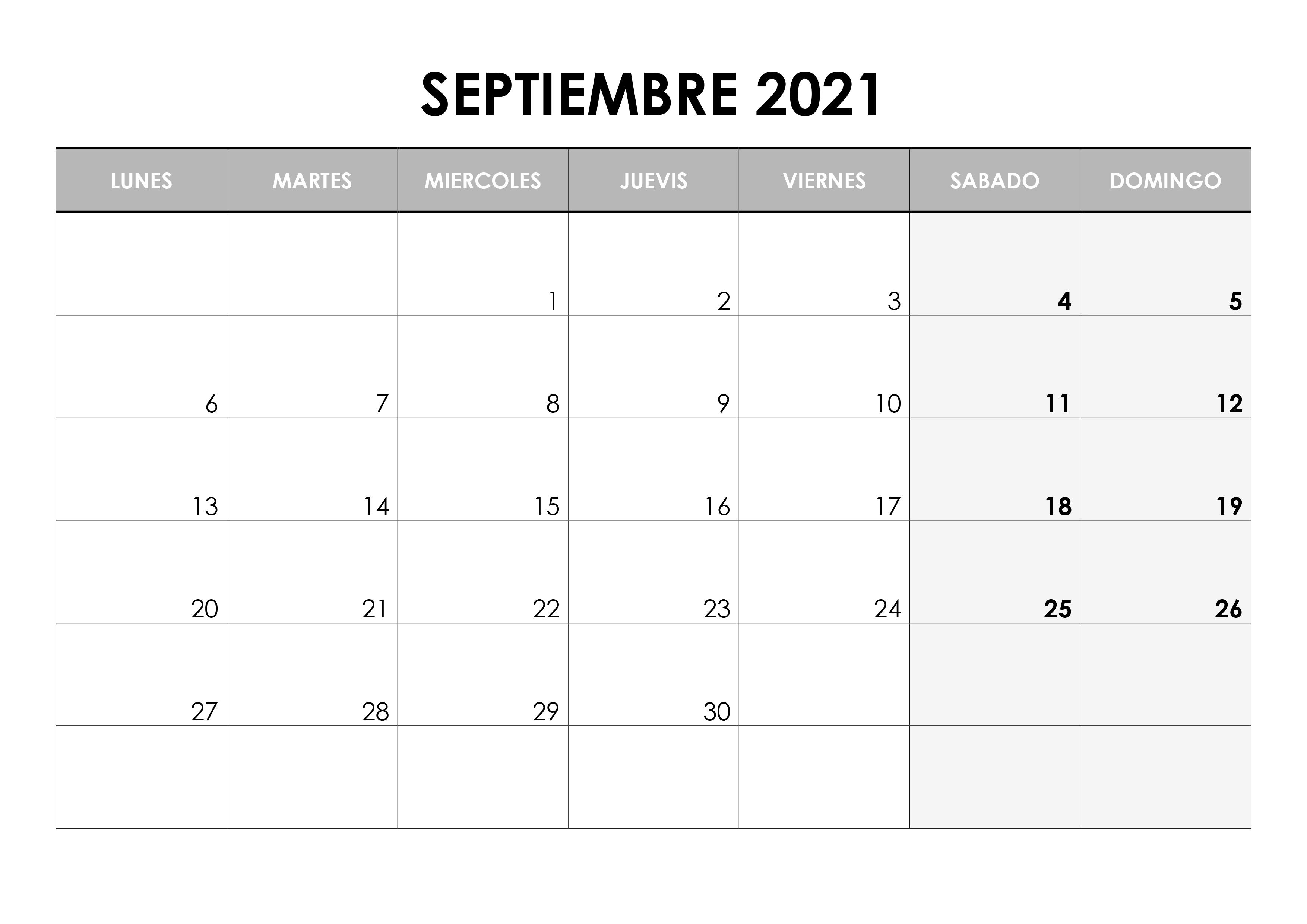 Septiembre 2021 Calendario Word