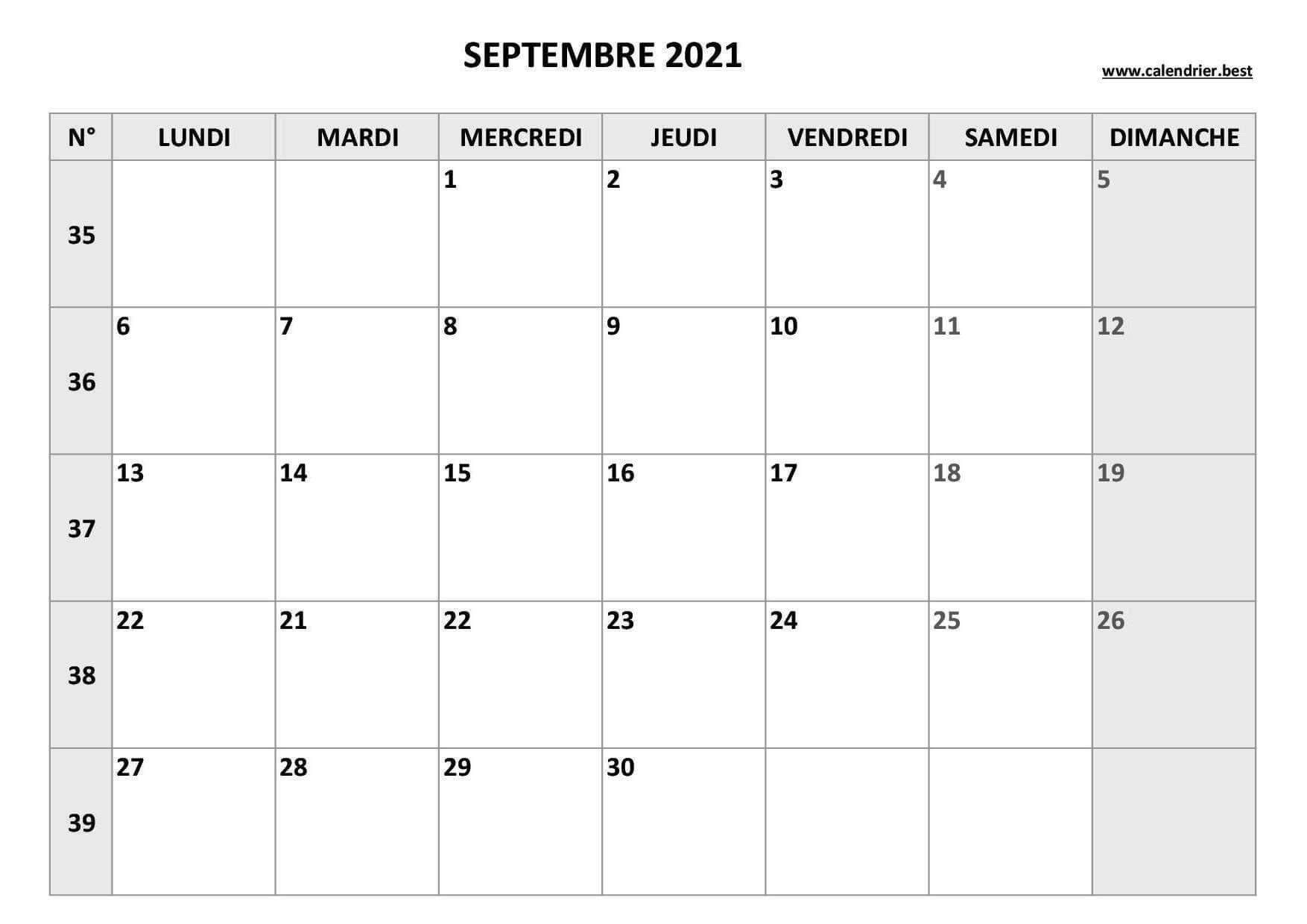 calendrier septembre 2021 semaine gris
