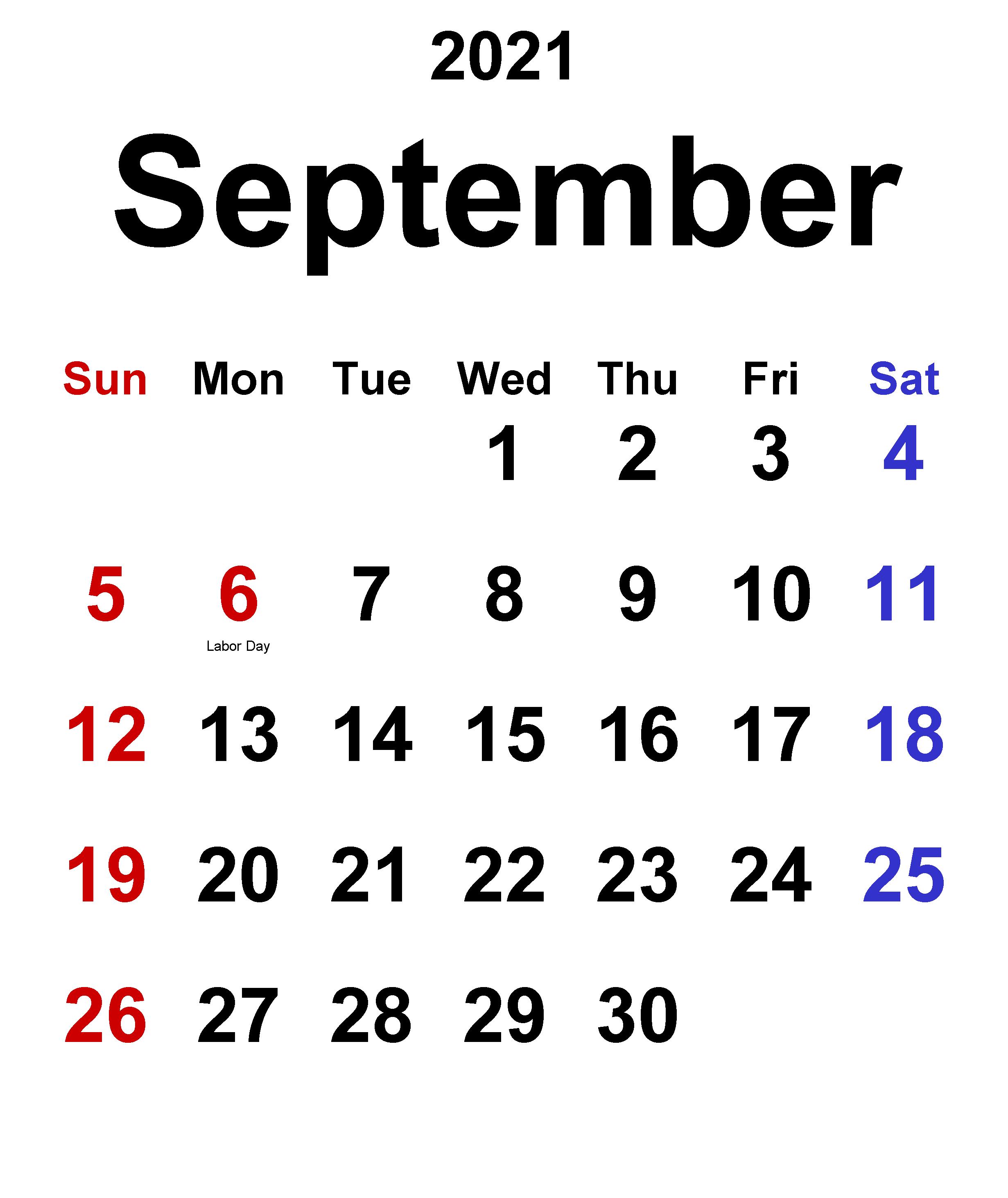 September 2021 classic calendar
