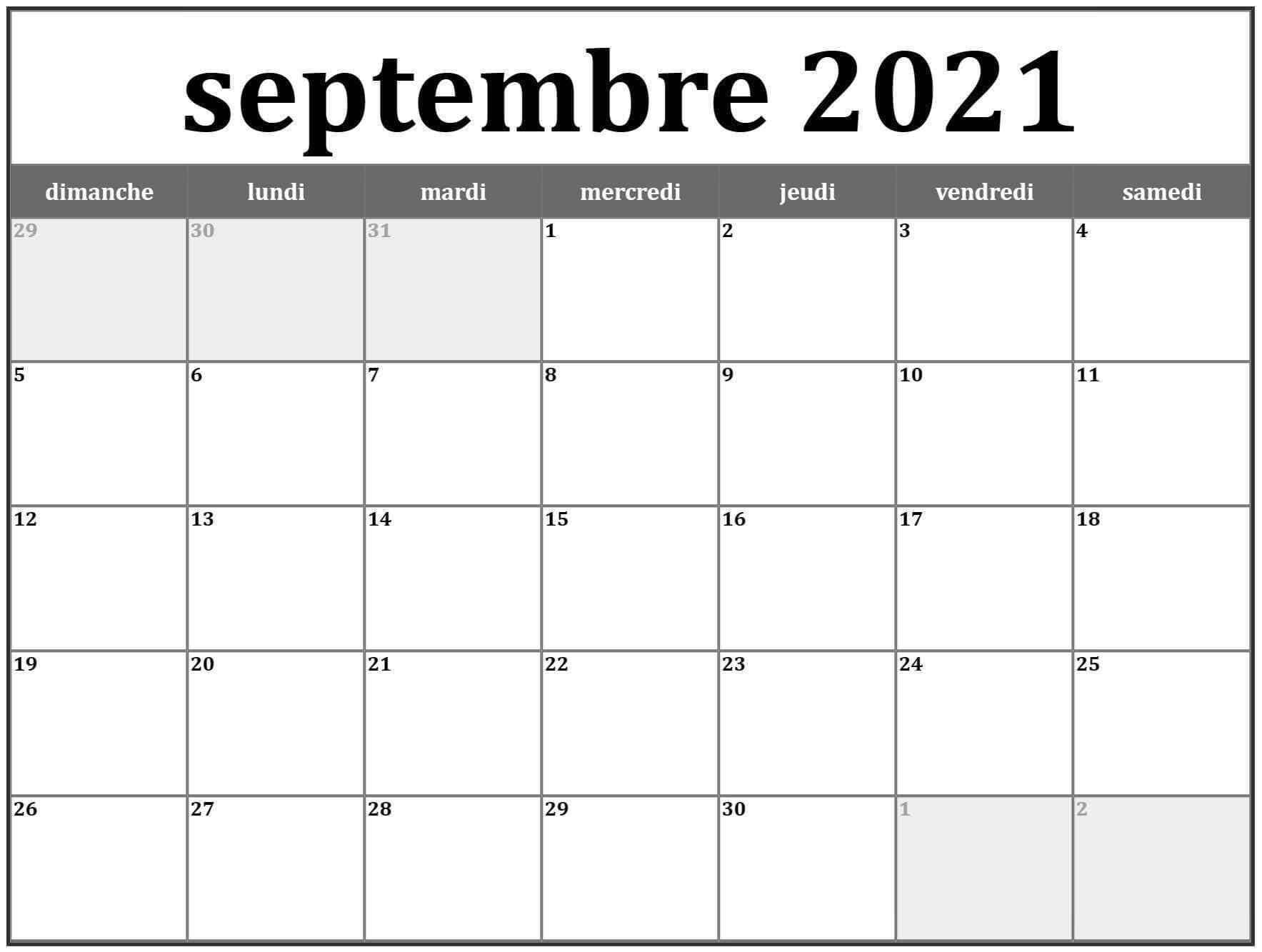 septembre 2021 calendrier